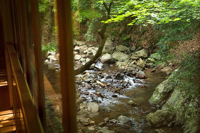 お座敷のすぐ外が、この渓谷、この清流